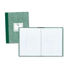 "National Lab Quadrille Book - 60 Sheets - Printed - Sewn 7.88"" x 10.13"" - White Paper - Green Cover Marble - Recycled - 1Each"