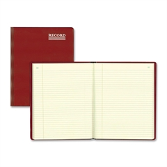 """Rediform Red Vinyl Account Book - 300 Sheet(s) - Thread Sewn - 10.37"""" x 8.37"""" Sheet Size - Green Sheet(s) - Brown, Green Print Color - Red Cover - Recycled - 1 Each"""