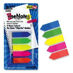 "Redi-Tag Plain Write-on Arrow Flags in Holder - 25 x Neon Blue, 25 x Lime, 25 x Lemon, 25 x Pink, 25 x Tangerine - 0.46"" x 1.75"" - Arrow - Assorted - Removable, See-through, Self-adhesive - 125 / Pack"