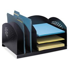 "Safco 3 & 3 Combination Rack Desktop Organizer - 6 Compartment(s) - 3 Divider(s) - 3 Tier(s) - 8.3"" Height x 16.3"" Width x 11.3"" Depth - Desktop - Black - Steel - 1Each"