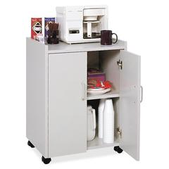"""Mobile Refreshment Utility Cart - 200 lb Capacity - 4 Casters - 2"""" Caster Size - Wood - 18"""" Width x 23"""" Depth x 31"""" Height - Gray"""