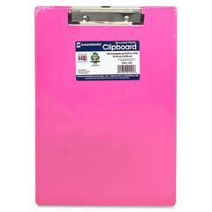"Saunders Neon Plastic Clipboard - 0.50"" Clip Capacity - Low-profile - Plastic - Neon Pink"