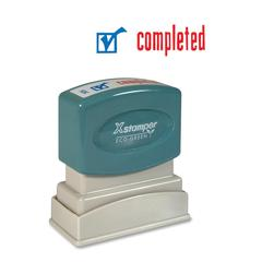 "Xstamper Red/Blue COMPLETED Title Stamp - Message Stamp - ""COMPLETED"" - 0.50"" Impression Width x 1.62"" Impression Length - 100000 Impression(s) - Red, Blue - Polymer - Recycled - 1 Each"