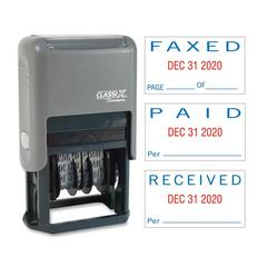 "Xstamper Self-Inking Paid/Faxed/Received Dater - Message/Date Stamp - ""PAID, FAXED, RECEIVED"" - 0.93"" Impression Width x 1.75"" Impression Length - Blue, Red - Plastic - 1 Each"