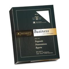 "Southworth 100% Cotton Business Paper - Letter - 8.50"" x 11"" - 24 lb Basis Weight - Recycled - 100% Recycled Content - Wove - 500 / Box - White"