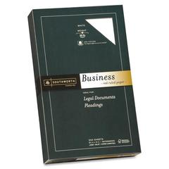 "Southworth Red Ruled Business Paper - Legal - 8.50"" x 14"" - 20 lb Basis Weight - Recycled - 25% Recycled Content - Wove - 500 / Box - White"