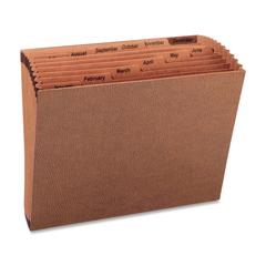"Sparco No Flap Heavy-Duty Accordion Files - Letter - 8 1/2"" x 11"" Sheet Size - 12 Pocket(s) - 1/3 Tab Cut - Top Tab Location - Brown - Recycled - 1 Each"