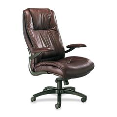 Ultimo Leather High-Back Chair - Leather Burgundy Seat - 5-star Base - Burgundy - Leather