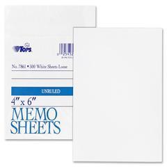 """TOPS White Bond Memo Sheets - 500 Sheets - Plain - Glue - 4"""" x 6"""" - White Paper - 500 / Pack"""