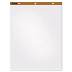 "TOPS Single Carry Pack Easel Pad - 50 Sheets - Plain - Stapled/Glued - 16 lb Basis Weight - 27"" x 34"" - White Paper - Perforated - 200 / Carton"