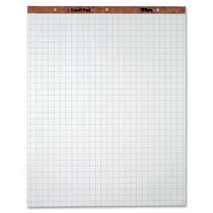 "TOPS 1"" Grid Square Easel Pads - 50 Sheets - Stapled/Glued - 15 lb Basis Weight - 27"" x 34"" - White Paper - Perforated, Punched - 2 / Carton"
