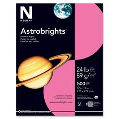 "Astrobrights Colored Paper - Letter - 8.50"" x 11"" - 24 lb Basis Weight - Smooth - 500 / Ream - Plasma Pink"