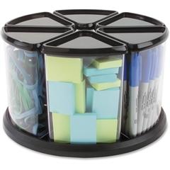 "Deflect-o Carousel Storage Organizer - 6 Compartment(s) - 11.1"" Height x 11.1"" Width x 6.5"" Depth - Desktop - Black, Clear - Plastic - 1Each"