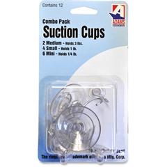 Adams Suction Cups - 12 Hooks - for Glass, Tile, Nonporous Surface, Classroom, Porcelain, Fiberglass - Metal, Plastic - Clear - 12 / Pack