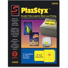 "Simon SJ Paper PlazStyx Durable Laser Printing Labels - 2"" Width x 4"" Length - Rectangle - Laser - Yellow - Plastic - 10 / Sheet - 250 / Pack"