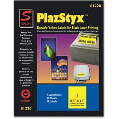 "Simon SJ Paper PlazStyx Durable Laser Printing Labels - 8 1/2"" Width x 11"" Length - Rectangle - Laser - Yellow - Plastic - 1 / Sheet - 25 / Pack"