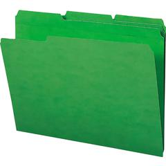 "Smead 100% Recycled Colored Folders - Letter - 8 1/2"" x 11"" Sheet Size - 1/3 Tab Cut - Assorted Position Tab Location - 11 pt. Folder Thickness - Green - Recycled - 100 / Box"