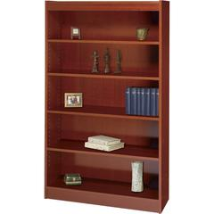 "Square-Edge Bookcase - 36"" x 12"" x 60"" - 5 x Shelf(ves) - 500 lb Load Capacity - Cherry - Veneer - Particleboard, Wood - Recycled - Assembly Required"