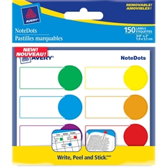 "Avery NoteDots Color Coded Label - Removable Adhesive - 0.75"" Width x 1.75"" Length - 2"" Diameter - Rectangle, Round - Red, Blue, Green, Yellow, Orange, Purple - 1 / Pack"