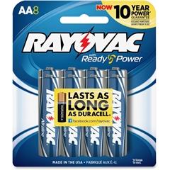 815-8CF Mercury Free Alkaline Batteries, AA 8 Pk - AA - Alkaline - 1.5 V DC - 8 / Pack
