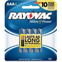 824-4F Mercury Free Alkaline Batteries, AAA 4 Pk - AAA - Alkaline - 1.5 V DC - 4 / Pack