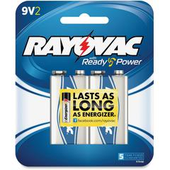 Rayovac A1604-2F Alkaline 9-Volt Battery - Alkaline - 9 V DC - 2 / Pack