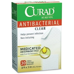 Curad Antibacterial Clear Bandages - 30/Box - Clear