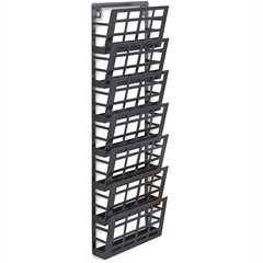 """Safco 7-Pocket Grid Magazine Rack - 7 Compartment(s) - Compartment Size 4"""" x 9.25"""" x 2"""" - 29.5"""" Height x 9.5"""" Width x 5.5"""" Depth - Wall Mountable - Black - Steel - 1Each"""