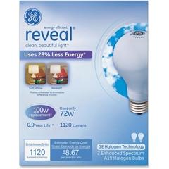 GE Energy-efficient Reveal 72W A19 Bulb - 72 W - 120 V AC - A19 Size - White - E26 Base - 1000 Hour - 4940.3°F (2726.8°C) Color Temperature - 100 CRI - Energy Saver - 2 / Box