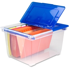 Nesting File Tote with Steel Rails - 50 lb - Media Size Supported: Letter, Legal - Flip Top Closure - Heavy Duty - Stackable - Plastic - Clear Blue - For File Folder, Letter, Document, File, Bo