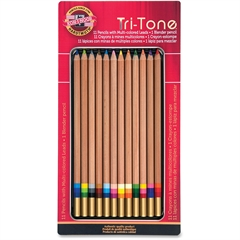 Koh-I-Noor Tri-Tone Multi-colored Pencils - Assorted Lead - 12 / Set