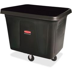 "Rubbermaid Commercial 300-lb Capacity Cube Truck - 44.91 gal Capacity - Cube - Durable - 28.1"" Height x 26"" Width - Metal, High-density Polyethylene (HDPE) - Black"