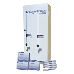 Impact Products Dual Vendor Hygiene Dispenser - 12 x Sanitary Napkin, 19 x Tampon - Metal - White - Window, Locking Coin Box