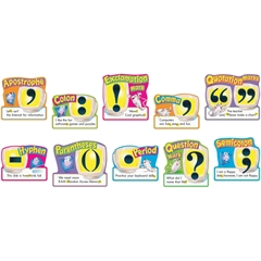 """Trend 12"""" Punctuation Bulletin Board Set - 10 Punctuation Marks - 12"""" Length - Multicolor - 10 / Pack"""