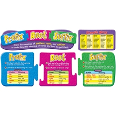 """Trend Prefix Root & Suffix Bulletin Board Set - Learning Theme/Subject - 35"""" Height - 5 / Pack"""