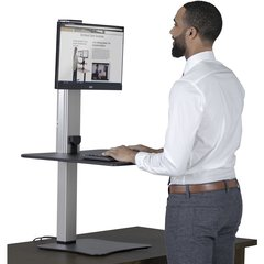 "Victor High Rise Electric Single Monitor Standing Desk Workstation - Supports One Monitor of Any Size Up yo 25 lbs - 0"" to 20"" Height x 28"" Width x 23"" Depth - One-Touch Electric, Standing Desk, Sit-S"