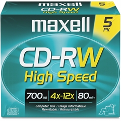 Maxell CD Rewritable Media - CD-RW - 4x - 700 MB - 5 Pack - 120mm - 1.33 Hour Maximum Recording Time