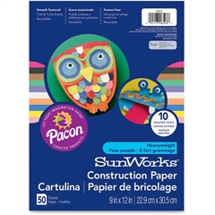 """Pacon SunWorks Construction Paper - 9"""" x 12"""" - 50 / Pack - Brown"""