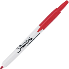 Sharpie Fine Retractable Marker - Fine Point Type - Red - 1 Each