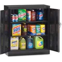 """Tennsco Counter-High Storage Cabinet - 36"""" x 18"""" x 42"""" - 2 x Door(s) - Locking Mechanism, Welded, Reinforced, Heavy Duty, Hinged Door, Adjustable Shelf - Black - Recycled"""
