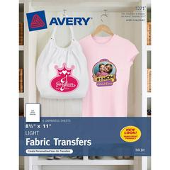 "Avery® Iron-on Transfer Paper - Letter - 8 1/2"" x 11"" - Matte - 6 / Pack - Clear"
