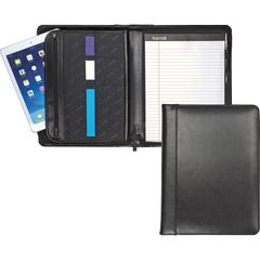 "Samsill Regal Leather Zipper Pad Holder - Letter - 8 1/2"" x 11"" Sheet Size - Internal Pocket(s) - Leather - Black - 1 Each"