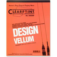 "Clearprint Design Vellum Pad - Letter - 50 Sheets - Plain - 16 lb Basis Weight - 8 1/2"" x 11"" - White Paper - Acid-free, Archival - 50 / Pad"