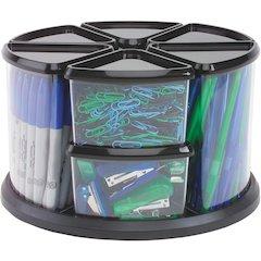 "deflecto Carousel Storage Organizer - 9 Compartment(s) - 11.1"" Height x 11.1"" Width x 6.6"" Depth - Desktop - Black - Plastic - 1Each"