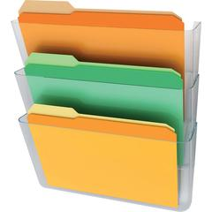 "deflecto Stackable DocuPocket Letter Wall Pockets - 3 Pocket(s) - 3 Compartment(s) - 14"" Height x 13"" Width x 4"" Depth - Wall Mountable - Clear - 3 / Set"