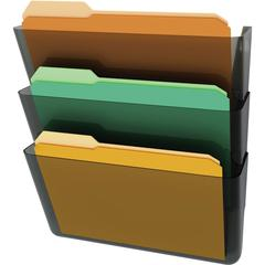 """deflecto Stackable DocuPocket Letter Wall Pockets - 3 Pocket(s) - 14"""" Height x 13"""" Width x 4"""" Depth - Wall Mountable - Smoke - 3 / Set"""