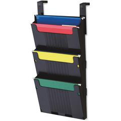 "Deflect-o 3-pocket Letter Hanging File System - 3 Pocket(s) - 25"" Height x 12.6"" Width x 3.9"" Depth - Wall Mountable - Black"