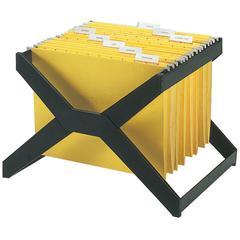 deflecto Desktop Hanging File X-Rack - 25 x Hanging Folder Capacity - Letter/Legal - Plastic - 1Each - Black