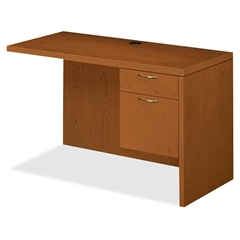 "HON Valido 11500 Series Right Pedestal Return - 48"" x 24"" x 29.5"" - Single Pedestal on Right Side - Ribbon Edge - Material: Brass Handle - Finish: Bourbon Cherry, Laminate"