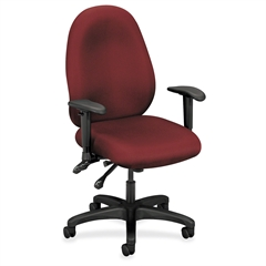 "VL630 Mid-Back High Performance Task Chair with Adjustable Arms - Polyester Burgundy Seat - Steel Black Frame - 5-star Base - Burgundy - 20.50"" Seat Width x 18.50"" Seat Depth - 32.5"" Widt"